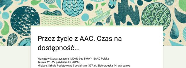 """Warsztaty Stowarzyszenia """"Mówić bez Słów"""" – ISAAC Polska"""